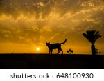 Cat silhouette with date tree