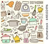 set of cute kitchen spices and... | Shutterstock .eps vector #648102496
