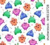 cute monsters seamless pattern.   Shutterstock .eps vector #648110728