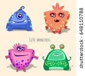 cute monsters   Shutterstock .eps vector #648110788