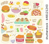 set of cute meal and dish doodle | Shutterstock .eps vector #648121243