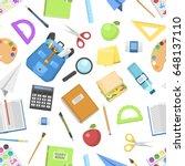 school bag backpack full of... | Shutterstock .eps vector #648137110