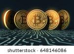 five virtual coins bitcoins on... | Shutterstock . vector #648146086