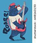 cute rockstar bear playing... | Shutterstock .eps vector #648163150