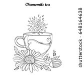 vector cup of chamomile herbal... | Shutterstock .eps vector #648164638