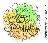 happy birthday typography... | Shutterstock . vector #648165019