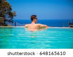 Young Man In Swimming Pool...
