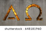 Small photo of Alpha and Omega Signs in glass.