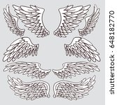 creative sketchy wings set.... | Shutterstock .eps vector #648182770