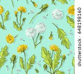seamless pattern with dandelions | Shutterstock .eps vector #648198160