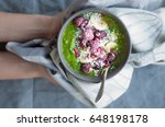 green smoothie bowl with banana ... | Shutterstock . vector #648198178