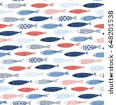 seamless pattern with fish on a ... | Shutterstock .eps vector #648201538