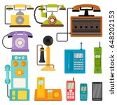 vector vintage phones retro old ... | Shutterstock .eps vector #648202153