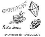 festa junina hand sketch... | Shutterstock .eps vector #648206278