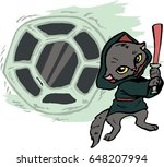 funny cartoon cat dressed in a...   Shutterstock .eps vector #648207994