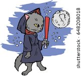 funny cartoon cat dressed in a...   Shutterstock .eps vector #648208018