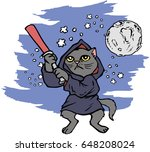 funny cartoon cat dressed in a...   Shutterstock .eps vector #648208024