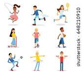 teenagers doing different sport ... | Shutterstock .eps vector #648210910