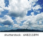 white clouds in blue sky above... | Shutterstock . vector #648211894