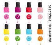 set of bright bottle nail... | Shutterstock .eps vector #648212560