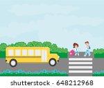 happy kids go to school  | Shutterstock .eps vector #648212968