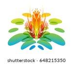 multicolored fantasy flower | Shutterstock .eps vector #648215350