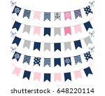 pink  blue and grey nautical... | Shutterstock .eps vector #648220114