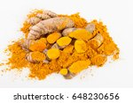 turmeric roots isolated on... | Shutterstock . vector #648230656