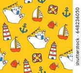 seamless nautical hand drawn... | Shutterstock .eps vector #648236050