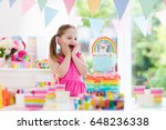 kids birthday party with... | Shutterstock . vector #648236338
