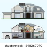 home interior with room... | Shutterstock .eps vector #648267070