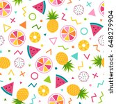 colorful cute tropical seamless ... | Shutterstock .eps vector #648279904