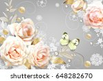 white roses and a  butterfly ... | Shutterstock .eps vector #648282670