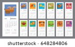 creative calendar 2018 with...   Shutterstock .eps vector #648284806