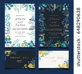 wedding invitation card  with ... | Shutterstock .eps vector #648290638