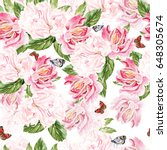 watercolor pattern with peony... | Shutterstock . vector #648305674
