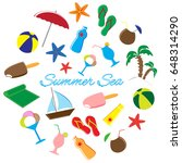 summer icons doodle set. vector ... | Shutterstock .eps vector #648314290