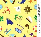 summer sea travel doodle stuff... | Shutterstock .eps vector #648314296