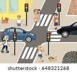 traffic laws. rules of the road ... | Shutterstock .eps vector #648321268