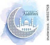 hari raya aidilfitri greeting... | Shutterstock .eps vector #648327928