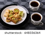 arabian sweets for ramadan and... | Shutterstock . vector #648336364