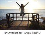 young girl cheerfully jumping...