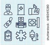 set of 9 emergency outline... | Shutterstock .eps vector #648345280