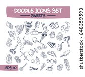 doodle icons set of sweets and... | Shutterstock .eps vector #648359593
