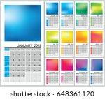 wall calendar for 2018 year.... | Shutterstock .eps vector #648361120