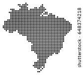 pixel dotted map of brazil.... | Shutterstock .eps vector #648374218