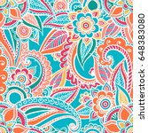 floral seamless pattern. doodle ... | Shutterstock .eps vector #648383080