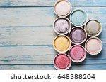 top view ice cream flavors in... | Shutterstock . vector #648388204