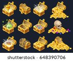 set of wooden chests with coins ... | Shutterstock .eps vector #648390706