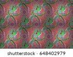 vintage raster floral seamless... | Shutterstock . vector #648402979